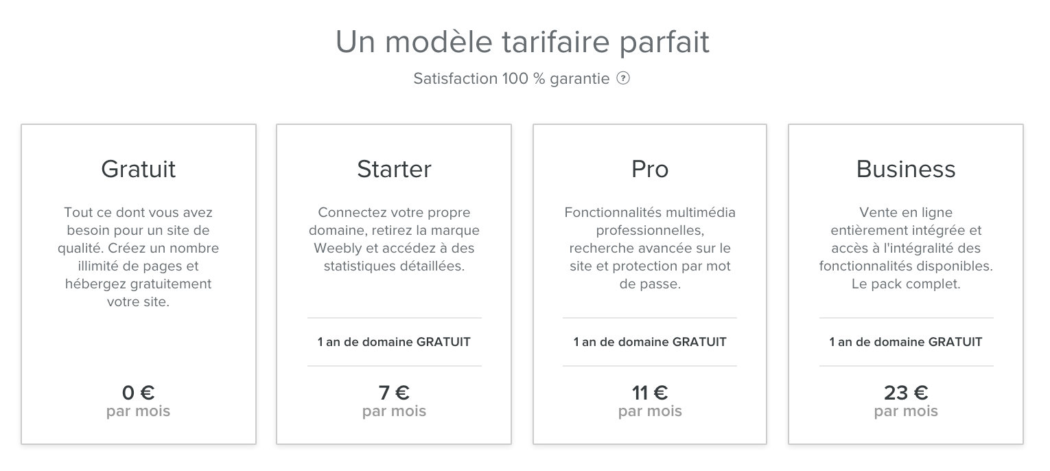 Grille tarifaire Weebly